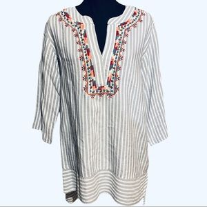 World Market Embroidered Striped Tunic Top S/M